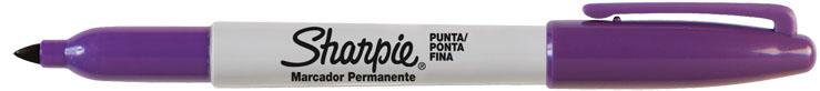 MARCADOR PERMANENTE SHARPIE FINO ROXO  - CX C/6 UN