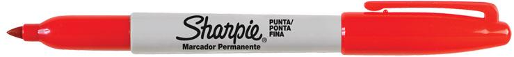 MARCADOR PERMANENTE SHARPIE FINO VERMELHO  - CX C/12 UN