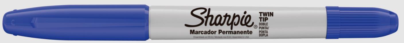 MARCADOR PERMANENTE SHARPIE TWIN TIP AZUL    - CX C/12 UN