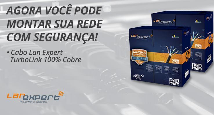 Lan Expert 100% cobre - Turbo Link Cat5e - 4 pares - Preto - Caixa 305 metros  - infoarte2005