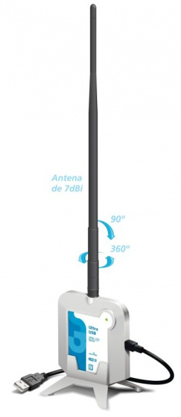Adaptador Wireless Ultra USB 150Mbps c/ antena 7dbi 500mw