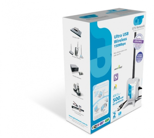 Adaptador Wireless Ultra USB 150Mbps c/ antena 7dbi 500mw  - infoarte2005