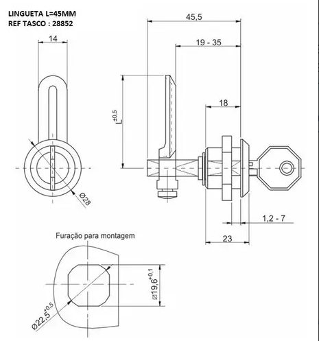 Fecho Lingueta Yale Regulável Com Uma Chave Tasco  - infoarte2005