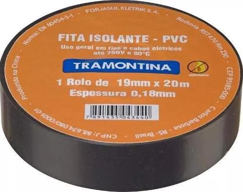 Fita Isolante Preta 20m 0,18mmx19mm Tramontina 57541020