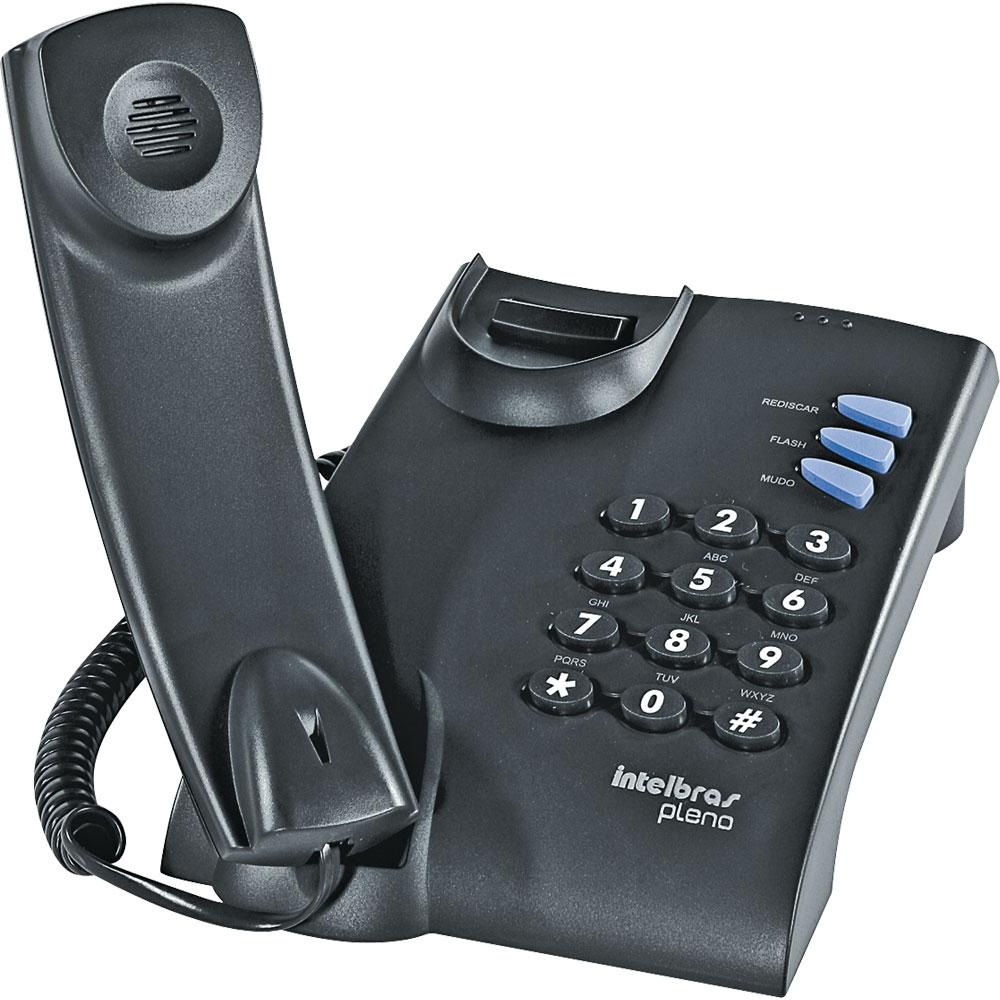 Telefone Com Fio Pleno Intelbras Preto - Para Mesa Ou Parede  - infoarte2005