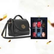 Combo Bolsa Shoulder Trança Soft Glam + Kit Esmaltes Ana Hickmann