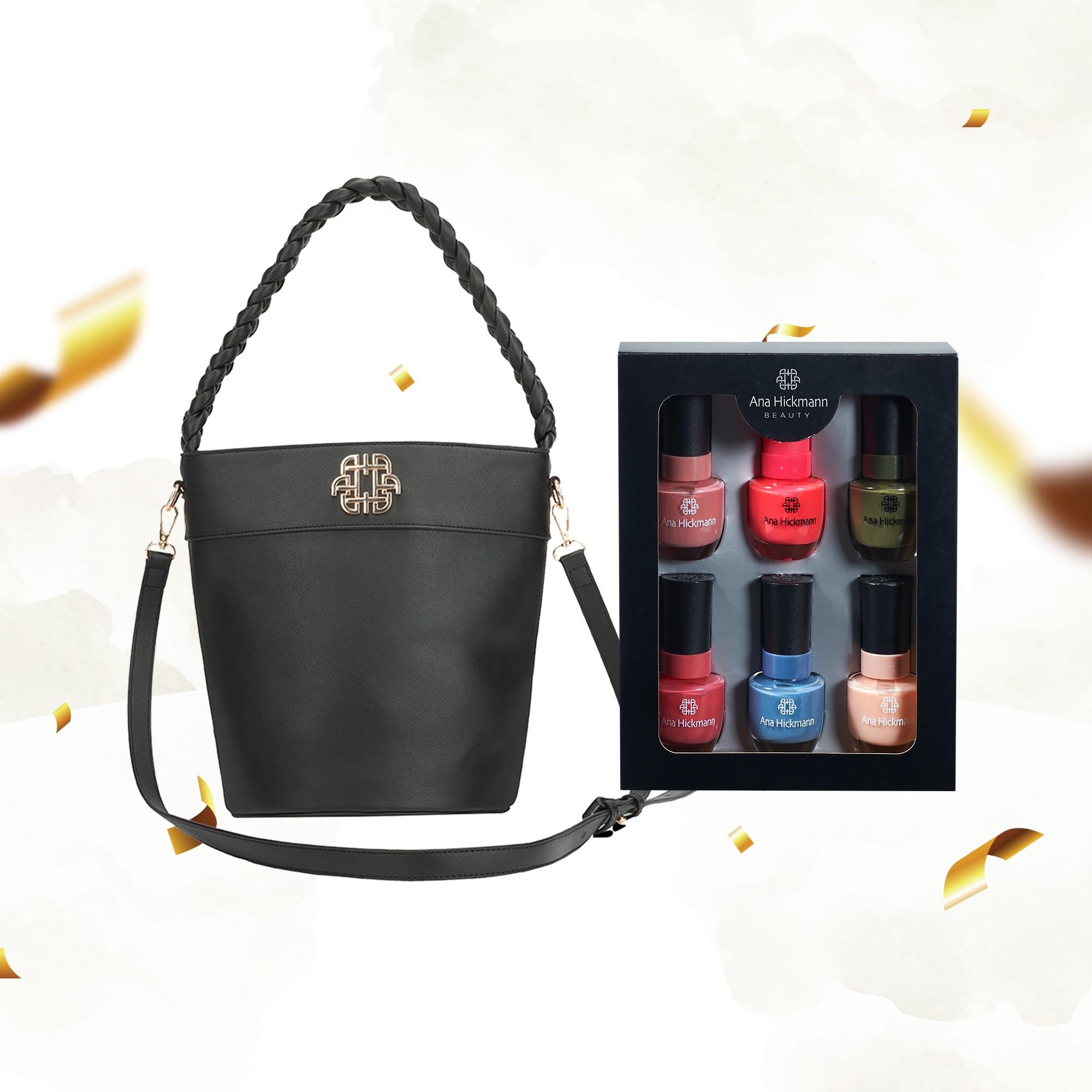 Combo Bolsa Bucket Trança Soft Glam + Kit Esmaltes Ana Hickmann
