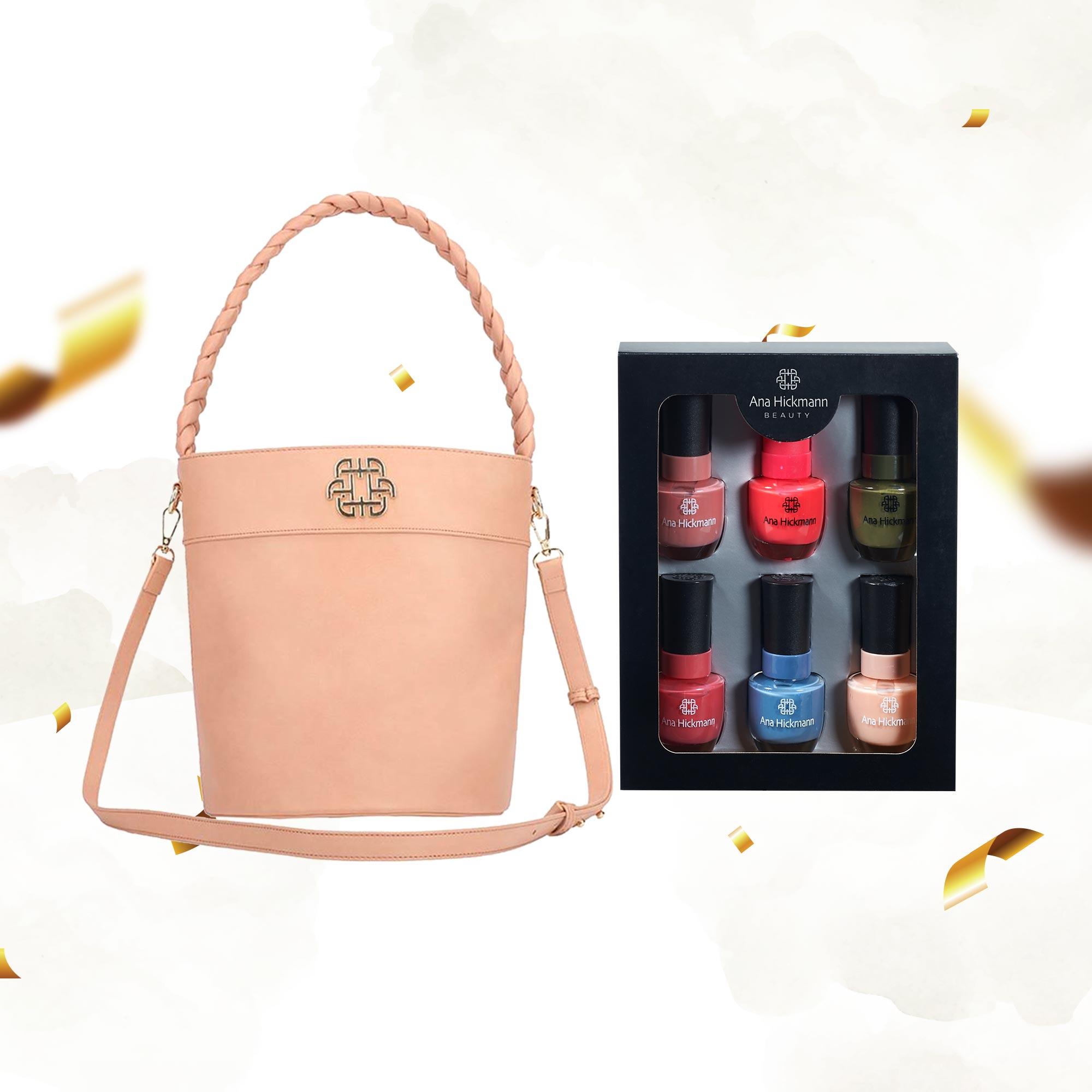 Combo Bolsa Nude Bucket Trança Soft Glam + Kit Esmaltes Ana Hickmann