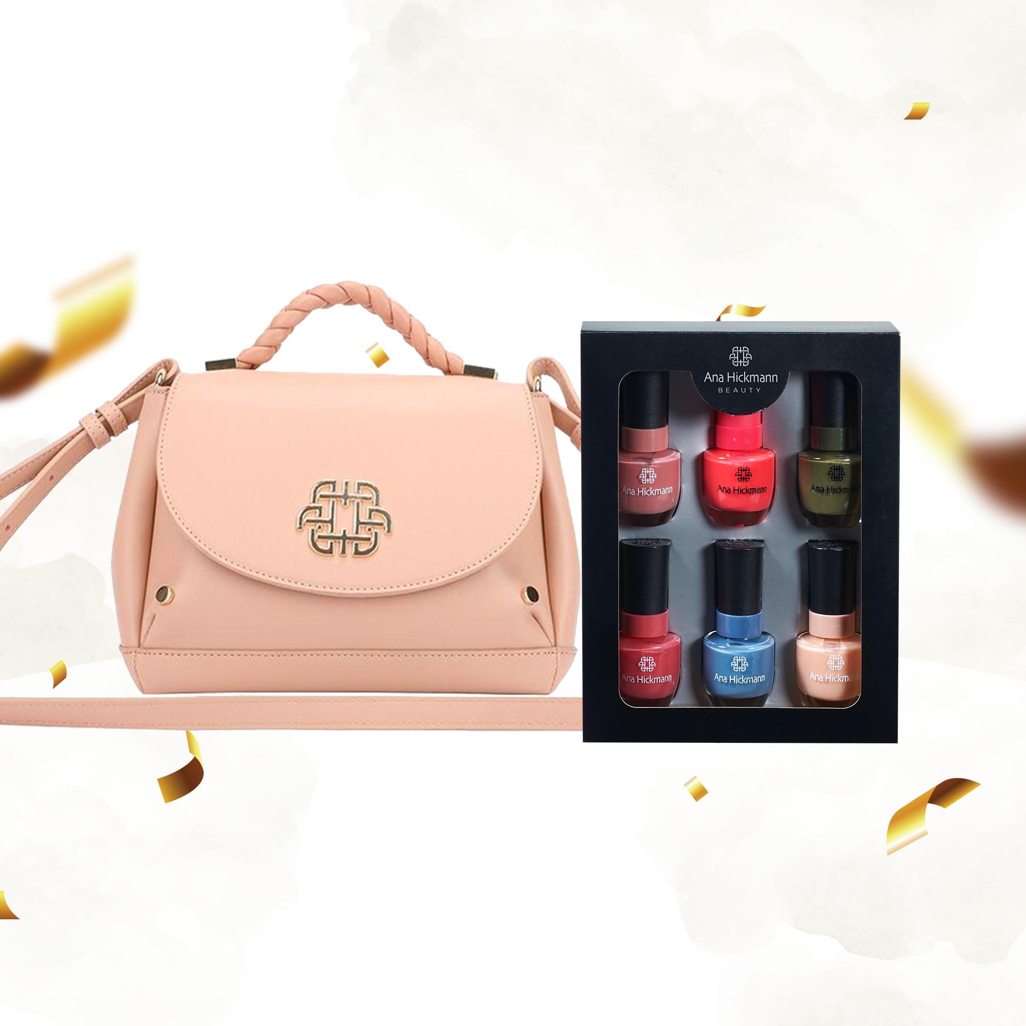 Combo Bolsa Nude Shoulder Trança Soft Glam + Kit Esmaltes Ana Hickmann
