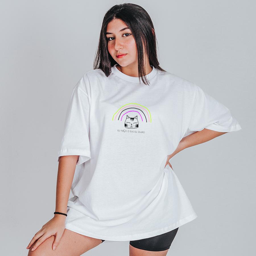 Camiseta Feminina Oversized Boutique Judith Eu Faço o Que Eu Quero