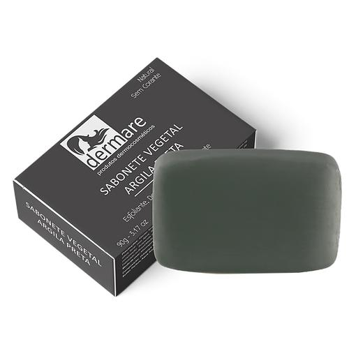 Sabonete Vegetal Facial De Argila Preta Dermare - 90g