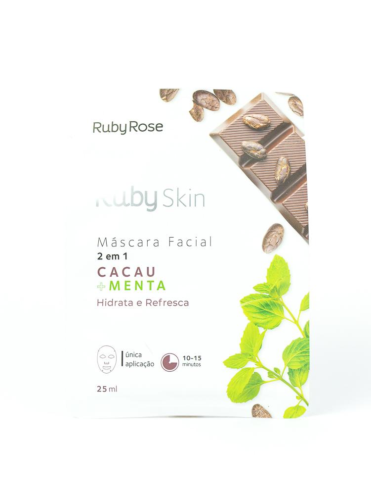 Máscara Facial de Tecido Cacau e Menta - Ruby Rose