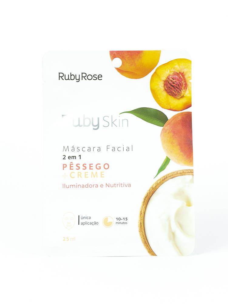 Máscara Facial de Tecido Pêssego e Creme - Ruby Rose