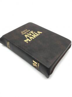 Biblia Sagrada Ave Maria Católica Média Ziper Marrom