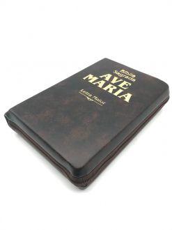 Biblia Sagrada Ave Maria Letra Grande Católica Média Ziper