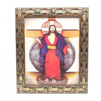 Quadro das Santas Chagas de Jesus Com Moldura
