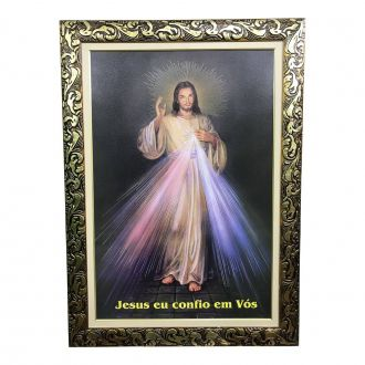 QUADRO JESUS MISERICORDIOSO GRANDE COM MOLDURA LUXO 108 x 77 cm
