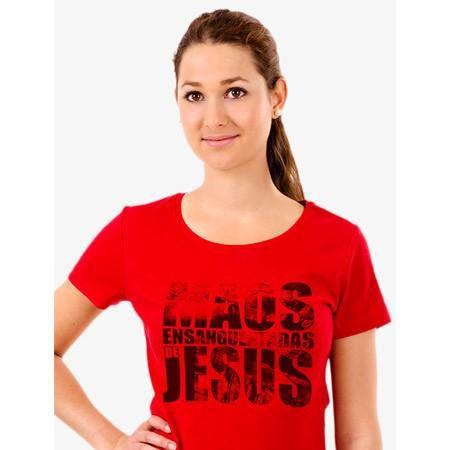 CAMISETA VERMELHA MÃOS ENSANGUENTADAS DE JESUS