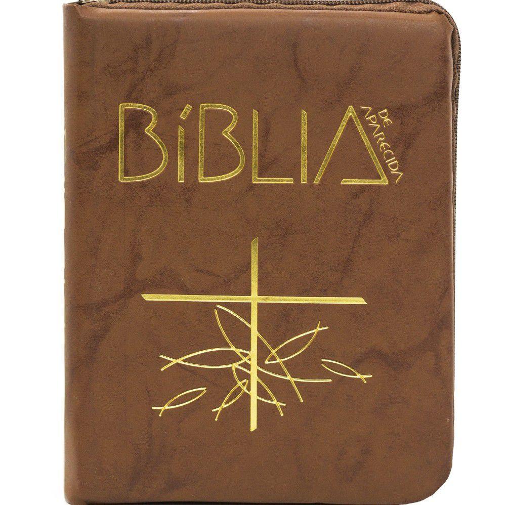 Bíblia Sagrada de Aparecida Bolso zíper flexível marrom