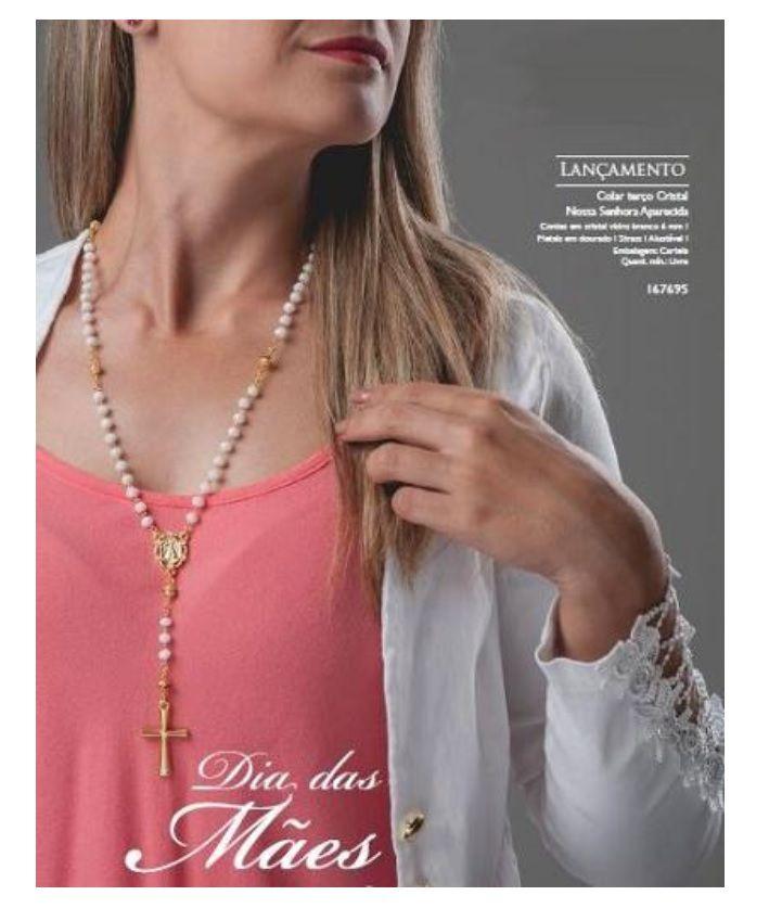 COLAR TERÇO CRISTAL BRANCO FEMININO NOSSA SENHORA APARECIDA