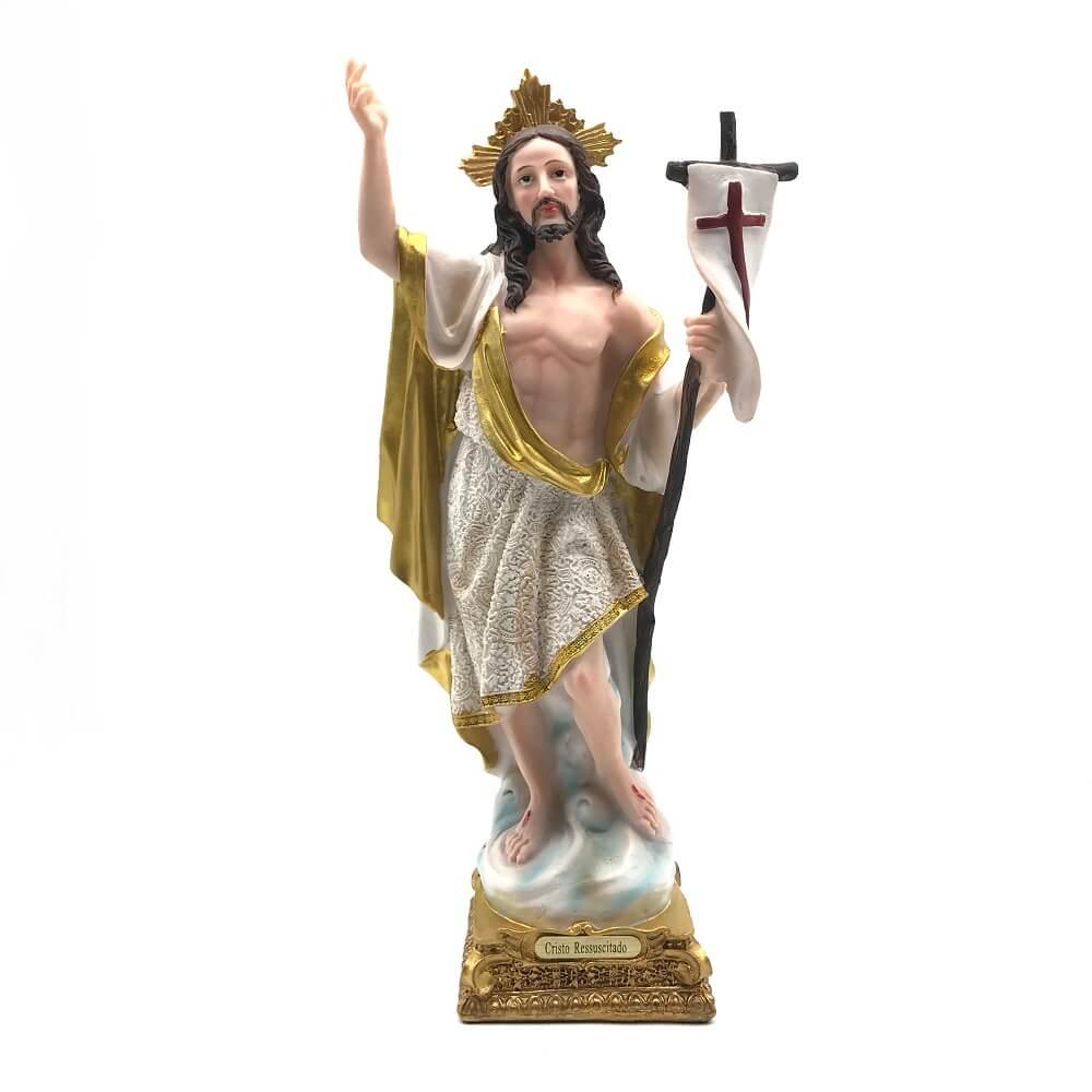 Imagem de Jesus Cristo Ressuscitado Grande Resina 32 cm
