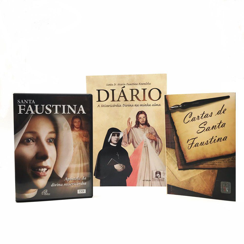 KIT LIVRO DIARIO SANTA FAUSTINA + CARTAS + DVD FILME SANTA FAUSTINA