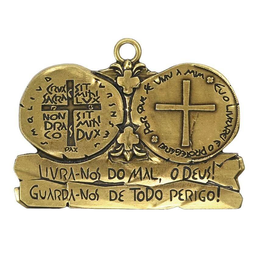 Medalha de Porta Sacramental Medalha das Duas Cruzes Ouro Velho