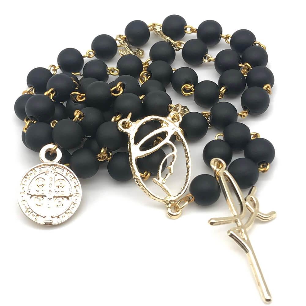 Terço Nossa Senhora do Silêncio e São Bento Com Crucifixo Fé Dourado