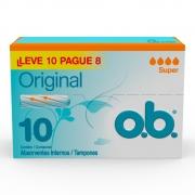 Absorvente Interno O.B Super Original 10 un Leve10 Pague8