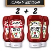 Kit c/ 2 Ketchup Picante e 2 Ketchup Heinz Tradicional 397g