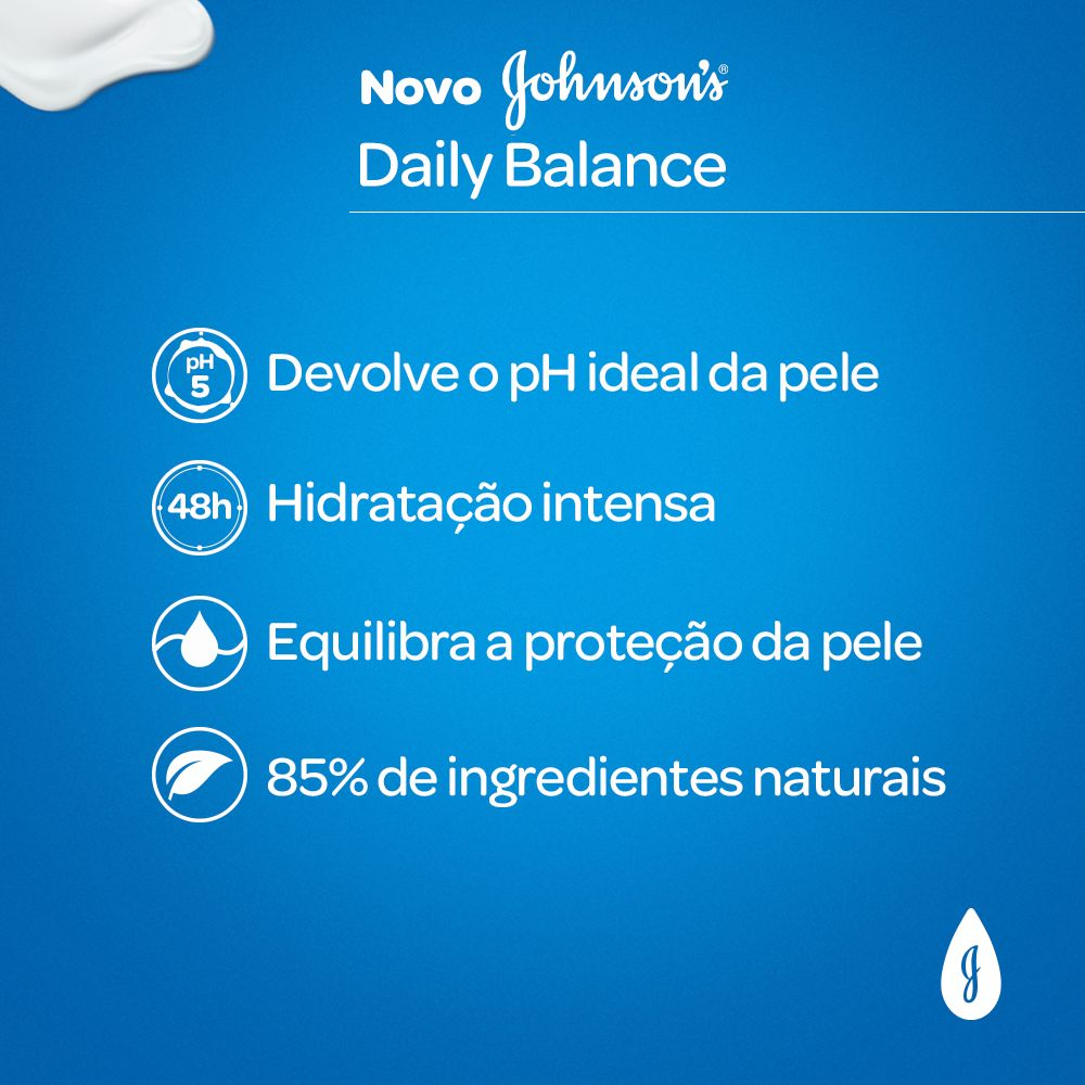 Hidratante Daily Balance  JOHNSON'S Óleo de Amendoas, Argan e Karité 400ml