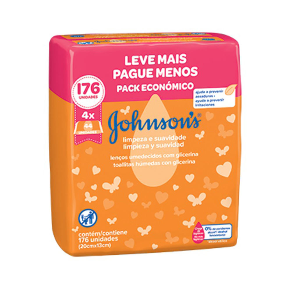 Kit 4 Lenços Umedecido Johnsons Baby Limpeza/Suavidade 176un