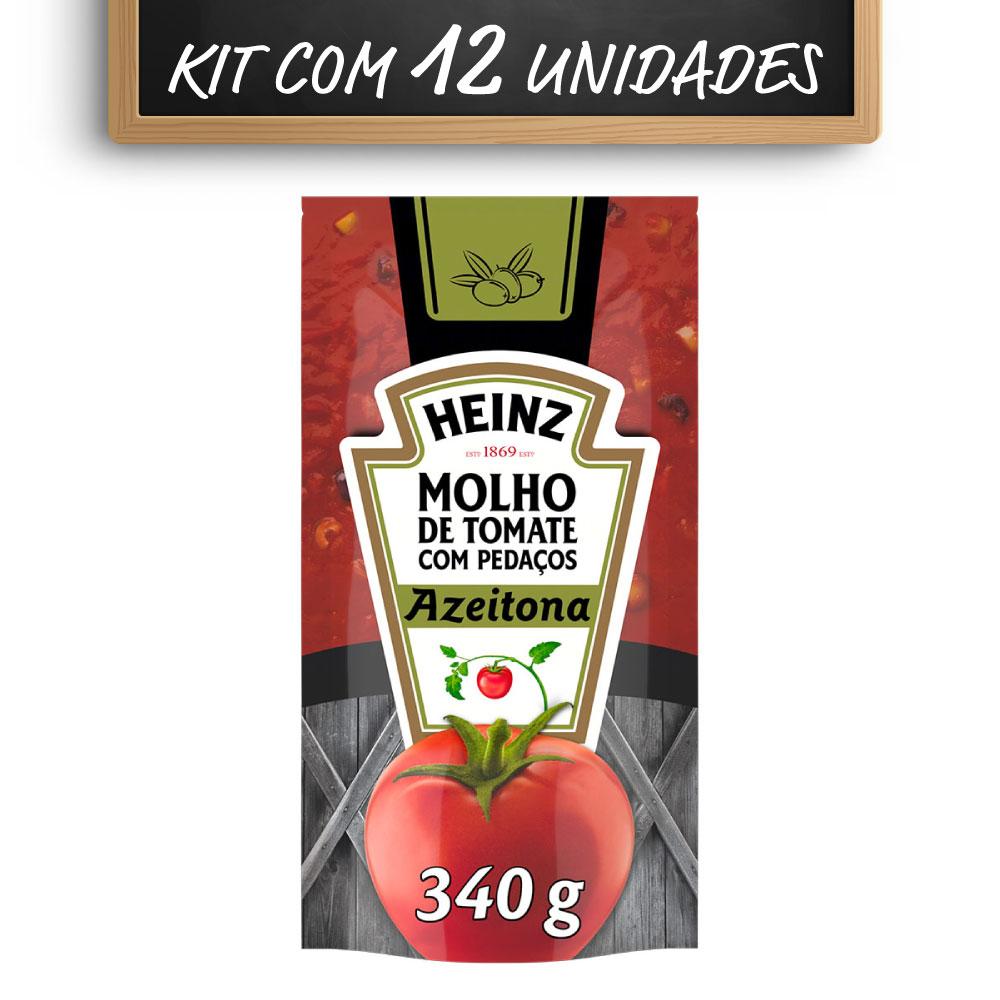 Kit c/ 12 Molho De Tomate Heinz Azeitona 340g