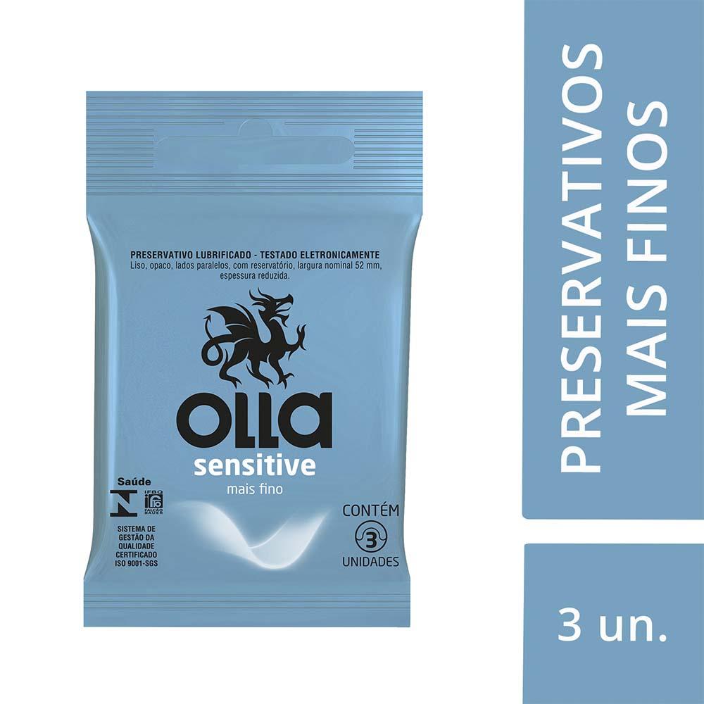 Kit c/ 12 Preservativo OLLA Lubrificado Sensitive 3 unidades