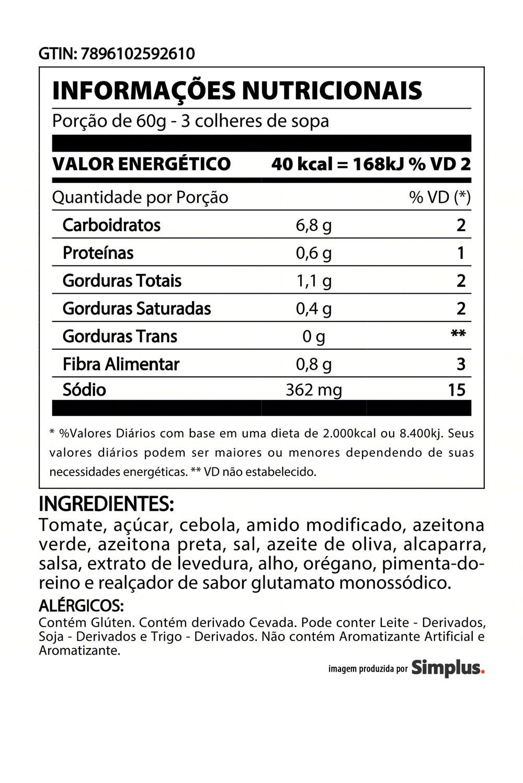 Kit c/ 18 Molho De Tomate Heinz Azeitona 340g