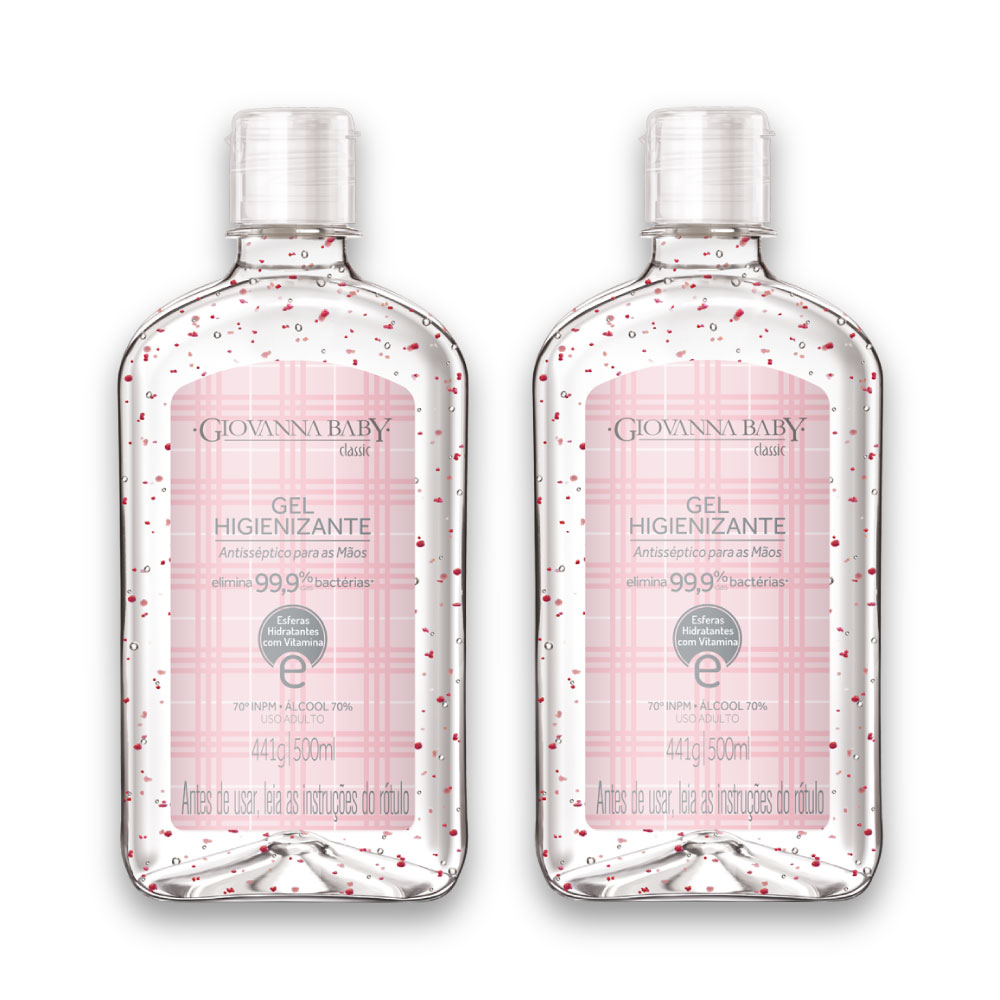 Kit c/ 2 Álcool em Gel Higienizante Classic 500 ml