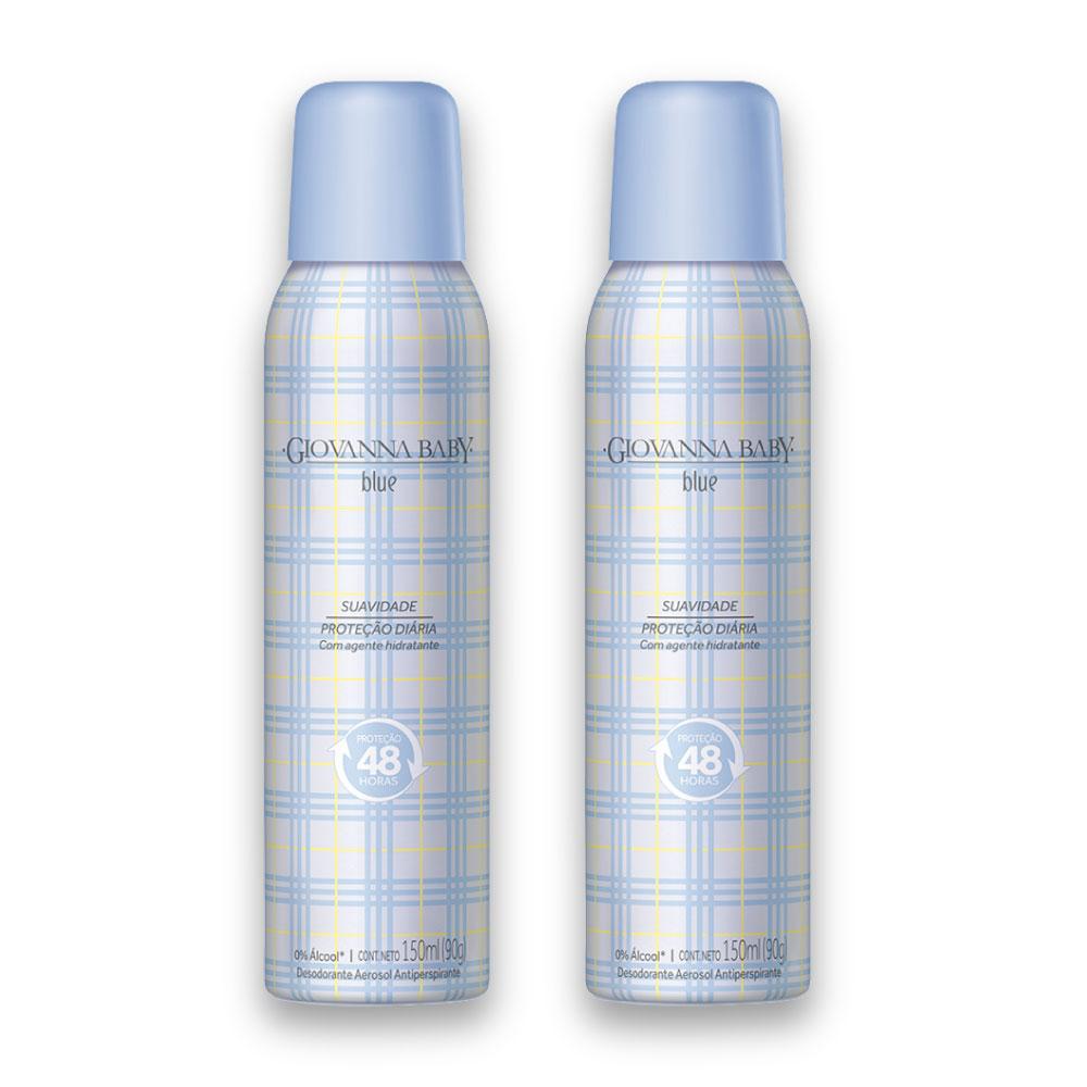 Kit c/ 2 Desodorante Aerossol Giovanna Baby Blue 150 ml