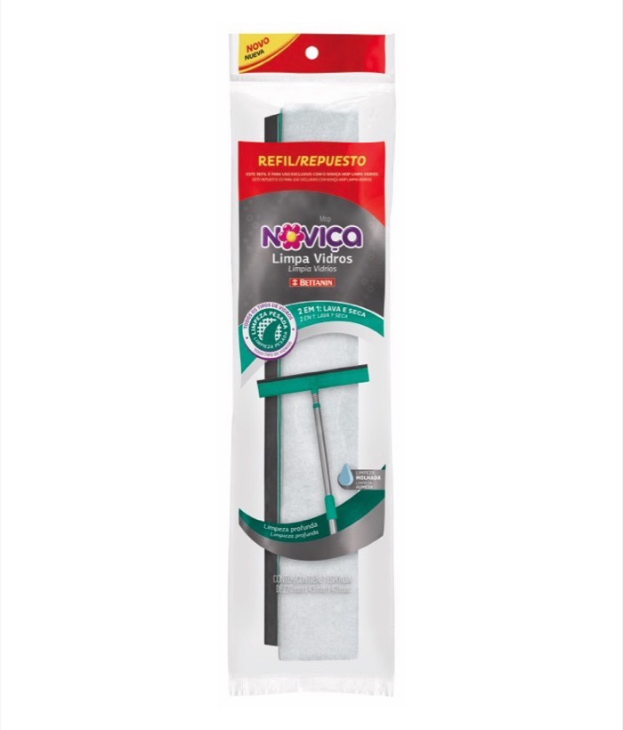 Kit c/ 2 Noviça Refil Mop Limpa Vidros