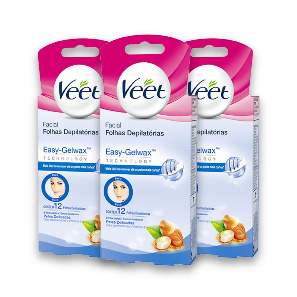 Kit c/ 3 Cera VEET Fria Peles Delicadas Facial 12 unidades