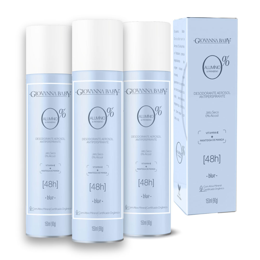 Kit c/ 3 Desodorante Aerosol Giovanna Baby 0% Aluminio Blue 150ml
