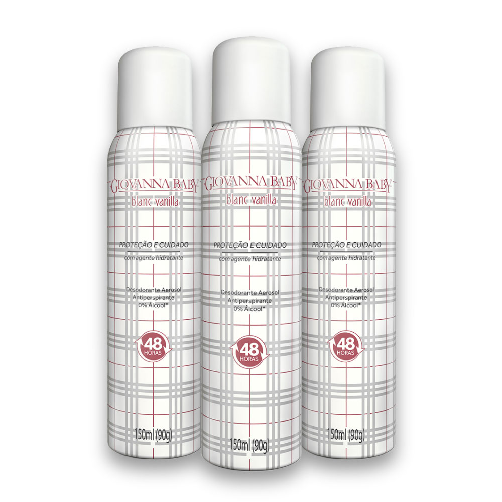 Kit c/ 3 Desodorante Aerossol Giovanna Baby Blanc Vanilla 150 ml