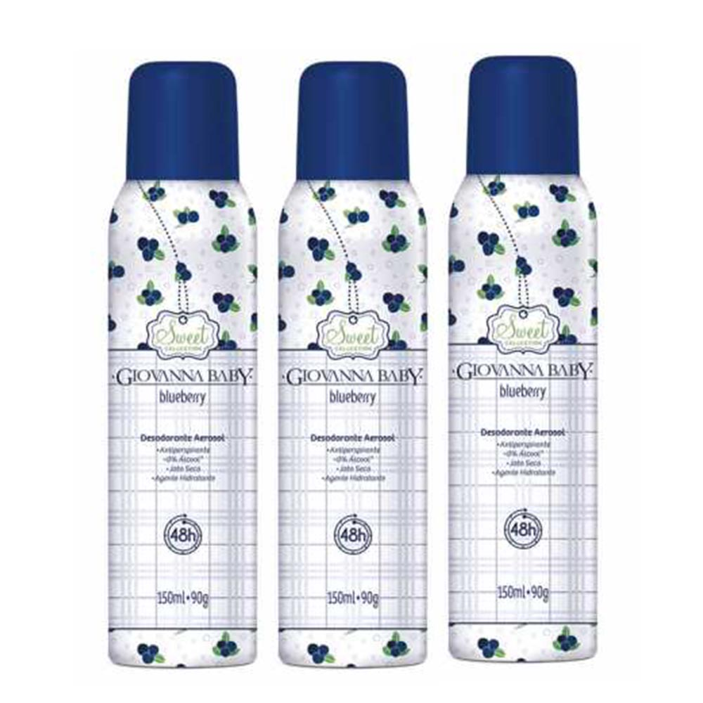 Kit c/ 3 Desodorante Aerossol Giovanna Baby Blueberry 150 ml