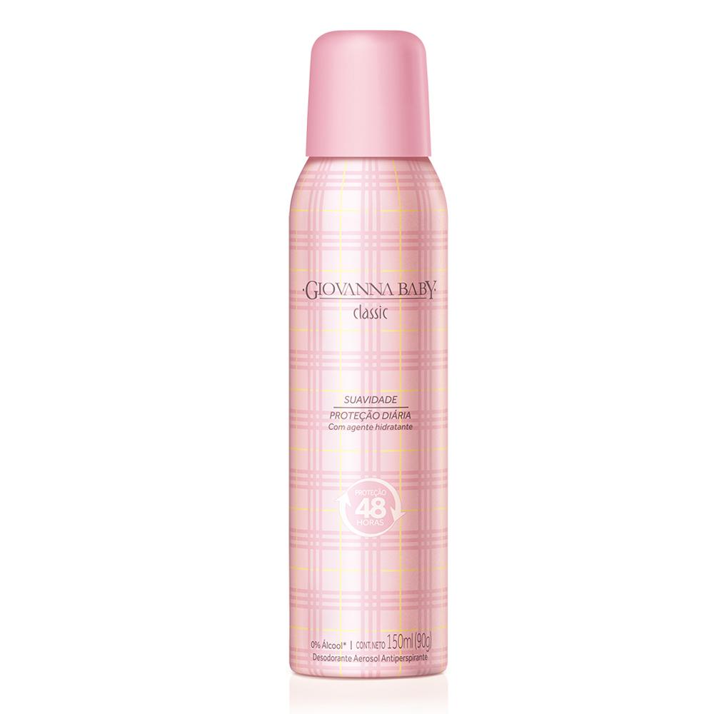 Kit c/ 3 Desodorante Aerossol Giovanna Baby Classic 150 ml