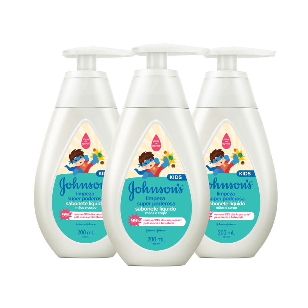 Kit c/ 3 Sabonete Líquido JOHNSON'S Limpeza Super Poderosa 200 ml