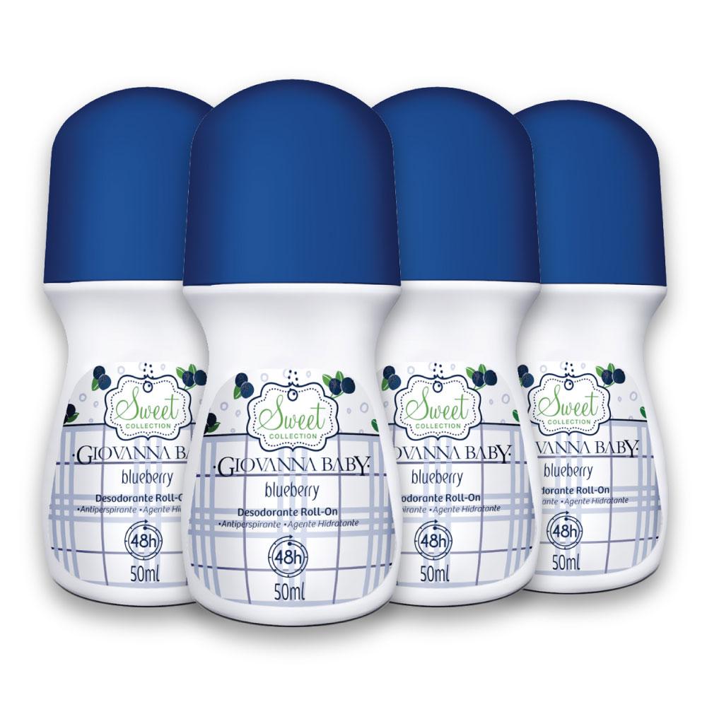 Kit c/ 4 Desodorante Rollon Giovanna Baby Blueberry 50ml