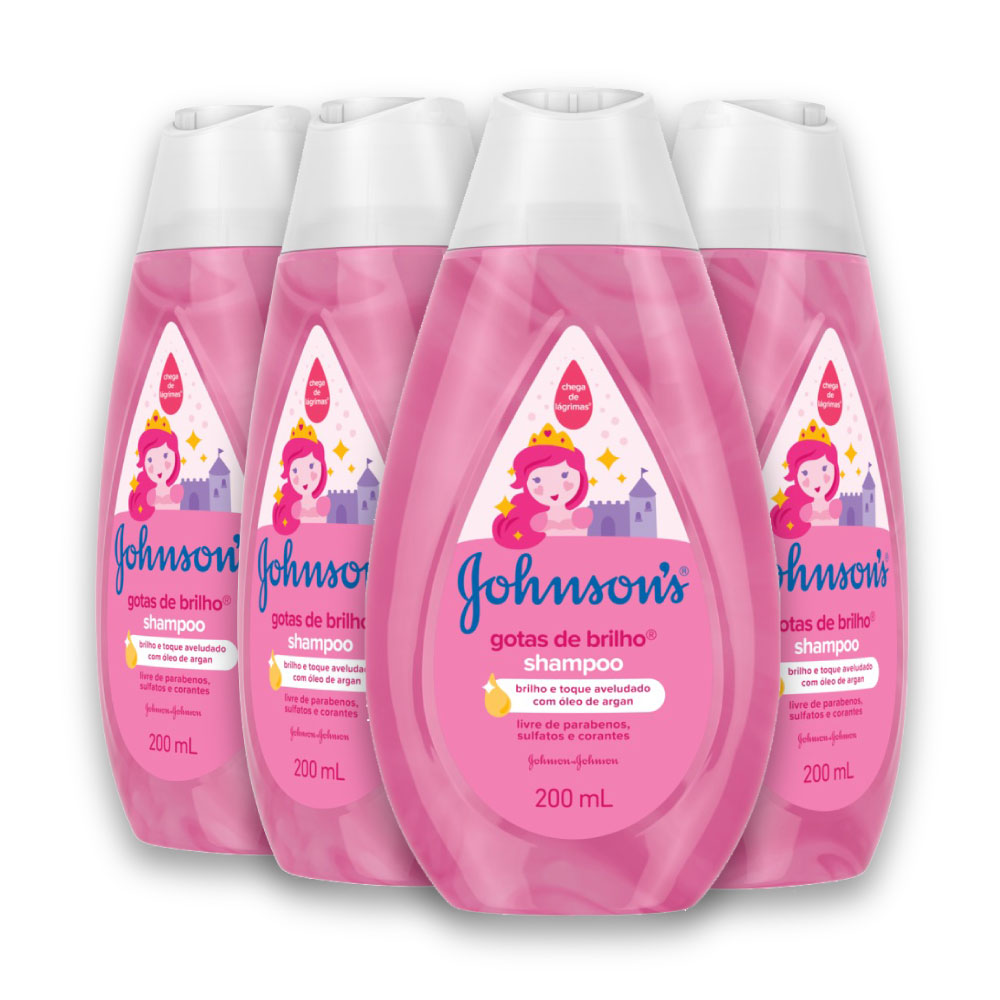Kit c/ 4 Shampoo JOHNSON'S Baby Gotas de Brilho 200ml