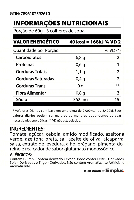 Kit c/ 6 Molho De Tomate Heinz Azeitona 340g