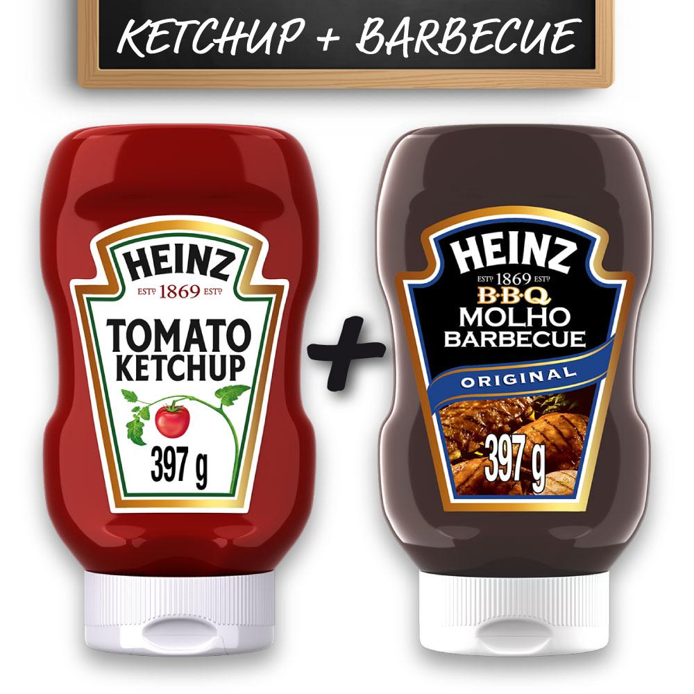 Kit c/ Ketchup Heinz Tradicional 397g e Barbecue Heinz 397g