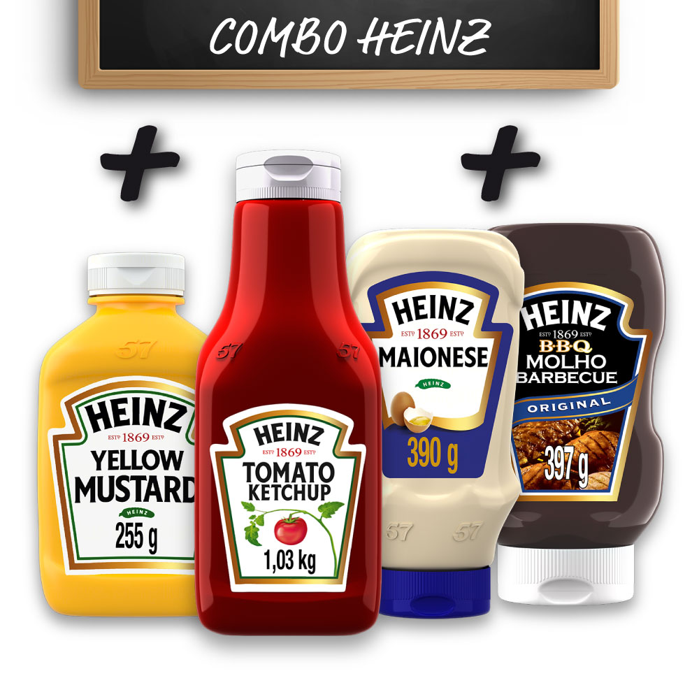 Kit c/ Ketchup + Maionese + Mostarda + Barbecue Heinz