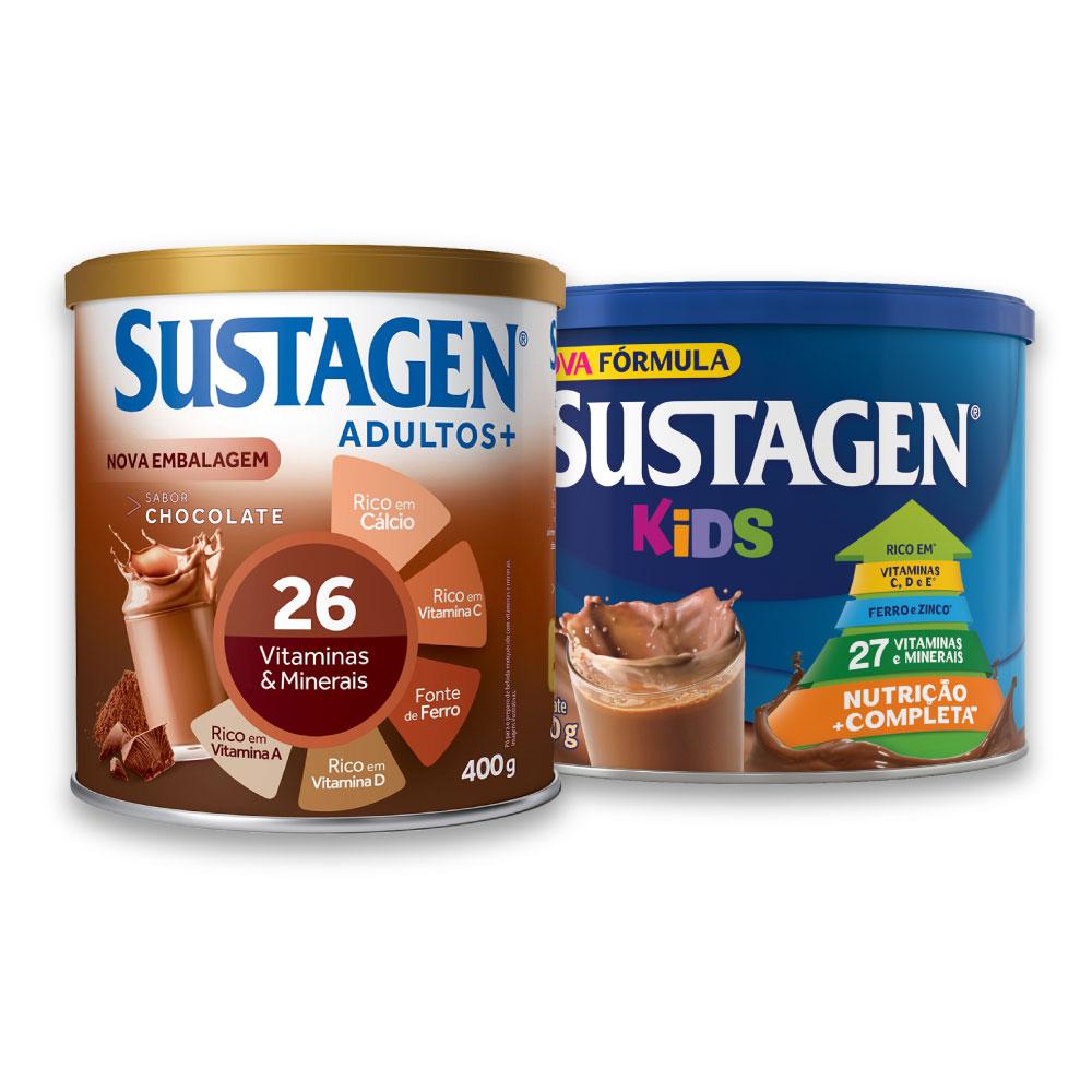 Kit c/ Sustagen NE 400g e Sustagen Kids 380g Chocolate